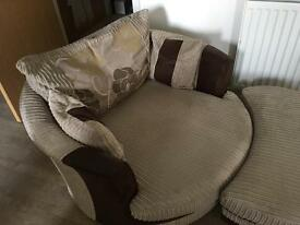 REDUCED!!! Large swivel snuggle chair with half moon footstool