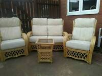 Cane conservatory suite with matching table