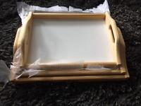 3 wooden trays