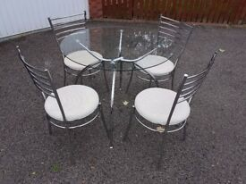 Round Clear Glass & Chrome Table & 4 Chairs FREE DELIVERY 351