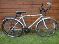 "Edinburgh bicycle contour bike, 26"" wheels, 21 gears, 18"" Reynolds 500 cromoly frame, with stand"
