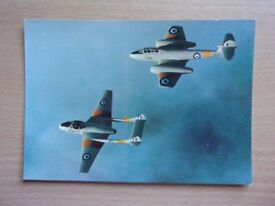DH.115 VAMPIRE T.11 AND GLOSTER METEOR T.7. UNUSED POSTCARD IN EXCELLENT CONDITION.
