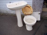 BATHROOM WC TOILET SET: BASIN AND TOILET WITH CISTERN - CREAM