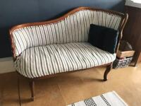 Wooden and stripe chaise longue sofa seat