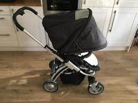 Pram and Carrycot travel system. Push chair and carrycot. i'coo Pii Pram - Night.