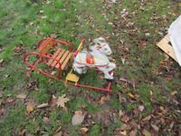CHILDS TOY ROCKING HORSE NOT SURE IF ITS TRI ANG TIN PLATE VINTAGE BEDFORD