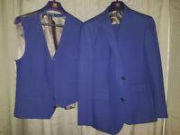 Next Slim Fit 3 piece Suit - Navy, 42R Jacket, 34 Short Trousers