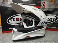 New 2018 Suomy Mr Jump Plain White Helmet Thor Goggles Motocross Enduro S M L XL