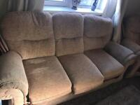 FREE three seater sofa and two arm chairs - beige colour