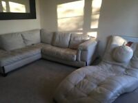 DFS IVORY CORNER SOFA & CHAISE LOUNGE FOR SALE - MUST GO ASAP - CHEAP DELIVERY - £275
