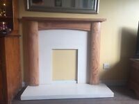 Pine and cream marble effect fireplace surround