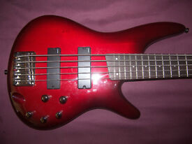 Ibanez SR375 BBS 5-String Active Bass Guitar + Gig Bag. / As New !