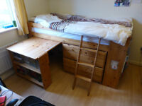 FREE Stompa Cabin Bed, with built in desk, chest of drawers and two book cases