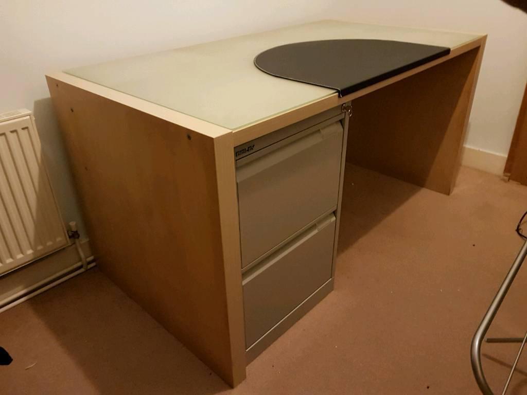 Ikea Birch Veneer Desk With Glass Top