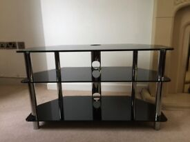 Black glass and chrome television stand
