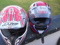two motor bike helmets