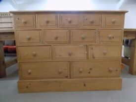 Solid Pine 14 Drawers Merchant Apothecary Chest Of Drawers