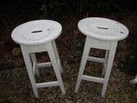 Pair Of Characterful,Vintage, Timber Stools. Approx 27 Inches High.