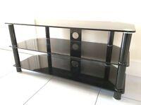 TV stand 3 shelves black glass