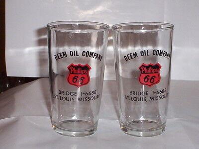 Two 2  Phillips 66 Glasses Deem Oil Company  St  Louis  Missouri Bridge 1 6688