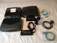 Vintage CISCO 1721 ADSL Modular Routers x 3, Power Supplies x 2 and Serial Console Cables x 3