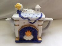NEW - Vintage Miniature Collection Whittard of Chelsea Decorative Teapot Fireplace with Cat