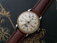 Very Rare Vintage Picard Moon phase Triple date mens watch REDUCED PRICE