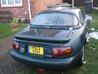MX5, needs welding in the usual places. Engine,gearbox & all electrics sound. Good project or drift.