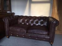 Brown leather Chesterfield 2 seater sofa