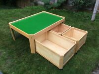 Wooden play table with storage