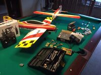 RC radio control model planes incl many extras: Handset, servos, spare parts and batteries
