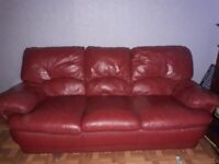 FREE!!!! Red 3 seater leather sofa need gone by tomorrow