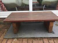 Solid hardwood home-made garden table – low