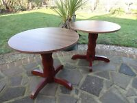 CAFE TABLES -- 2 TABLES ---WOOD EFFECT TOP WITH WOODEN BASE ---