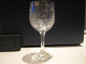 Zawiercie Genuine Hand Cut 24% lead crystal Wine glass x 6 Brand New