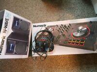 numark mixtrack 3 with numark 360 speaker and headphones
