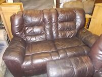 BROWN LEATHER 2 AND 4 SEATER SOFAS IN USED CONDITION FREE LOCAL DELIVERY AVAILABLE 07486933766