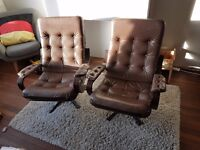 Leather swivel armchair 1970s Brown Retro * Reduced*