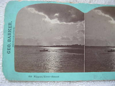 1800's VIEW OF BOAT ON NIAGARA RIVER-SUNSET STEREOVIEW