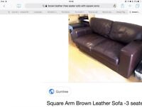 Brown leather 3 seater & two seater sofas for bargain price £150 first to see will buy