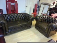 beautiful brown yellow leather Chesterfield. 2 setter and club chair.
