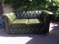 Chesterfield 2 Seater Sofa Settee Antique Green Real Leather Couch