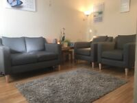 NEXT 2-seater sofa and 2 armchairs with free matching rug, fan and filing cabinet (if wanted).