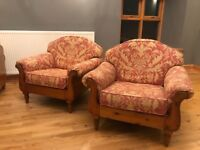 Ducal solid pine sofa & two arm chairs