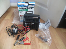 battery charger, 12 volt,4 amp, suitable for cars, motorcycle, motorhome, marine