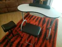 NOW SOLD - Mobile folding manicure nail technician table, stool and pedicure foot rest