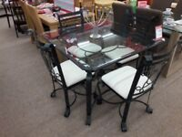 Metal + Glass Dining Table and 4 Chairs