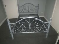 METAL DOUBLE BED FRAME Rustic Shabby Chic Style