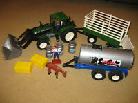 Farm set with tractor, trailer and milk trailer
