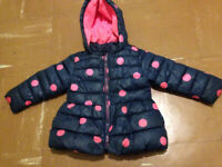 Girls Next 1 Half / 2 Years Blue/Pink Padded Fleece Lined Winter Coat Will Post